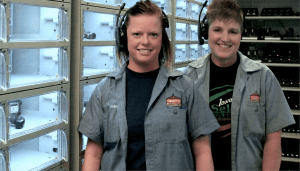 Two employees at Apex locker