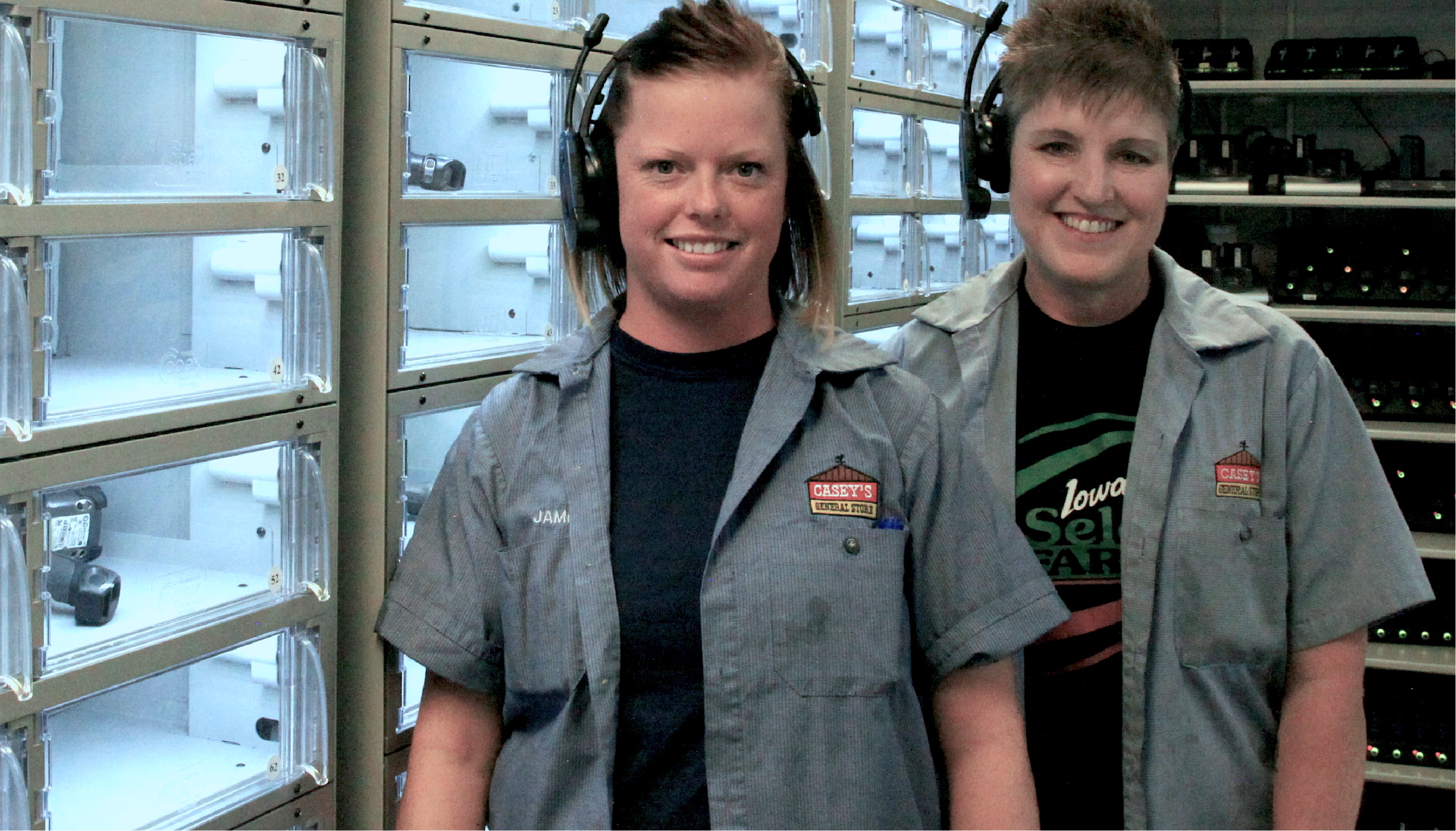 Warehouse associates wearing voice picking headsets