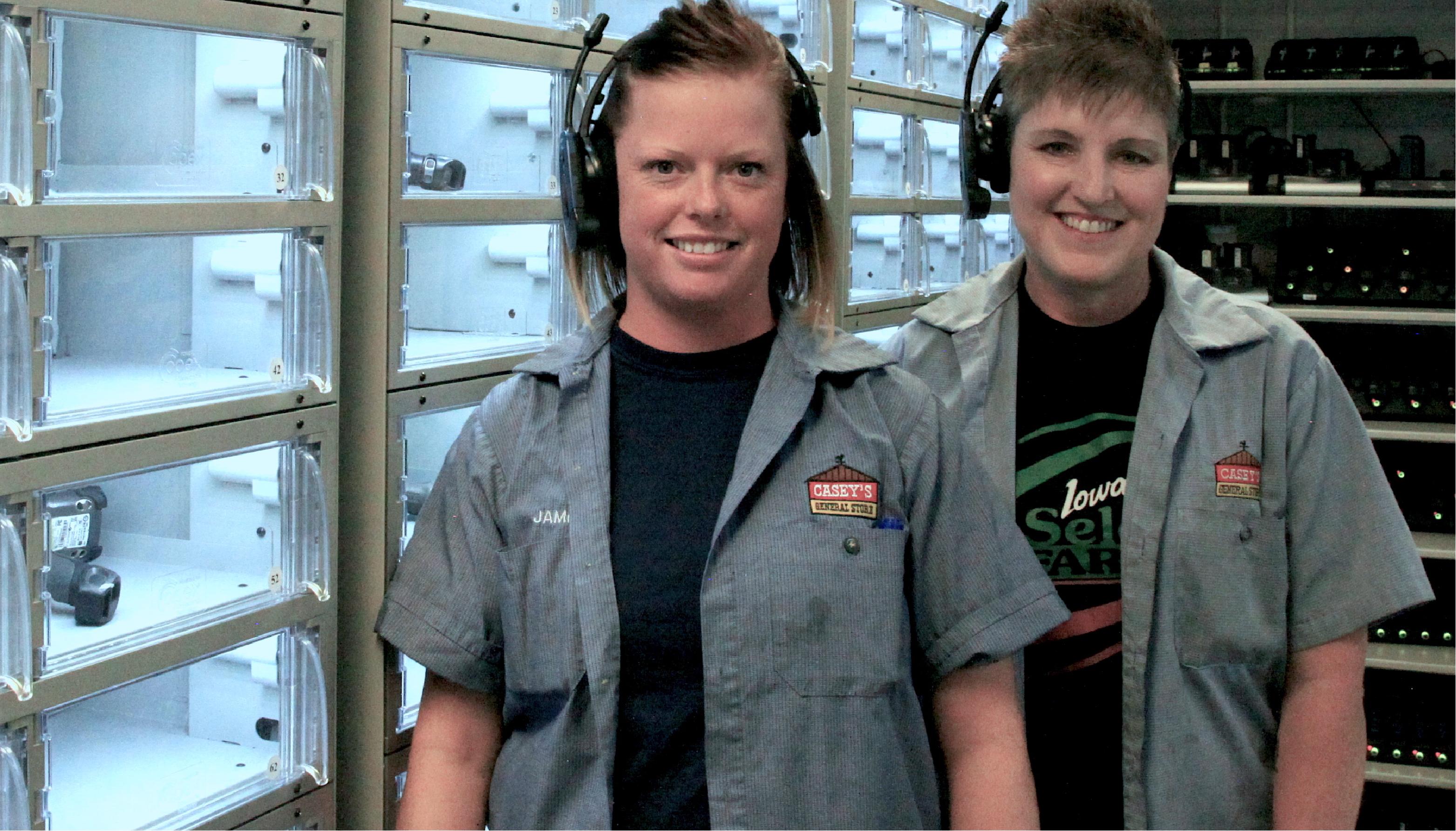 Warehouse associates wearing voice picking headsets