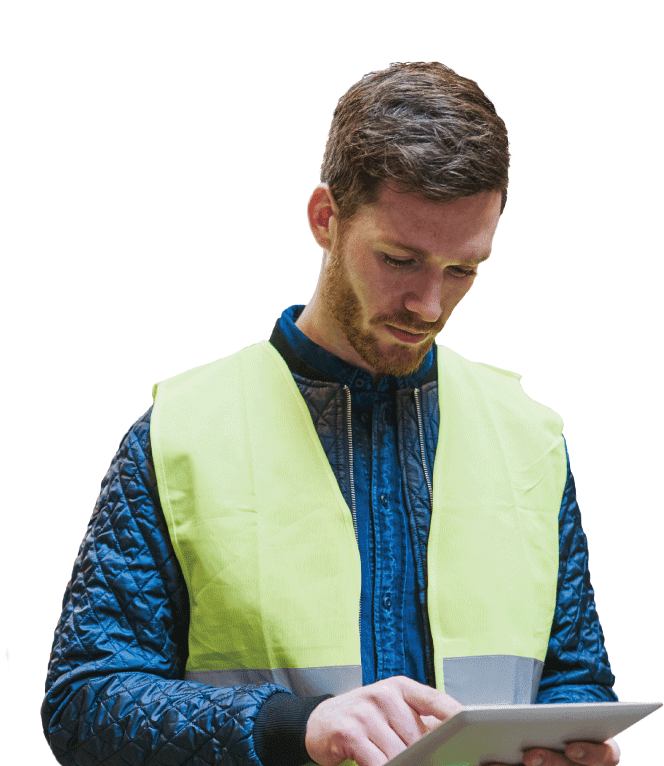 DC or warehouse worker using tablet to check Apex Cloud data