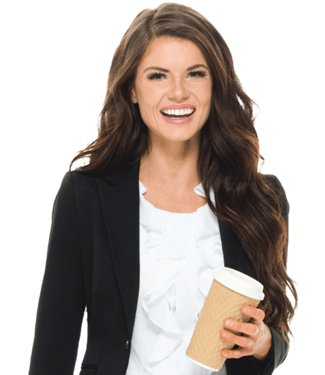 Female foodservice customer holding a to-go coffee cup